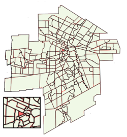 Location of Central Park within Winnipeg