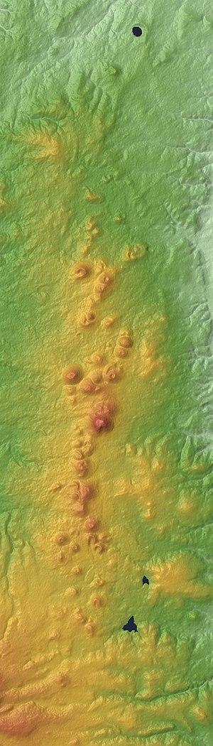 Chaîne des Puys - Image: Chaîne des Puys Relief Map, SRTM 1