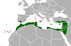 En vert: habitat naturel; en rouge: introduit