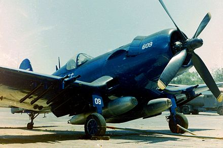 Honduran Air Force Vought F4U-5NL No. FAH-609 Corsair flown by Cap. Fernando Soto when he shot down three Salvadoran planes. Now on display at the Museo del Aire in Tegucigalpa Chance vought corsair f4u-5n FAH-609.jpg