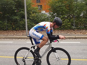 Boardman Bikes - Charl Du Plooy at the 2017 UCI Road World Championships on a Boardman Bike.