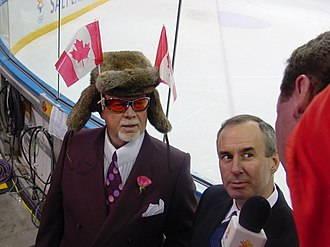 Ron MacLean - MacLean (right) with Don Cherry at the 2002 Winter Olympics in Salt Lake City, Utah