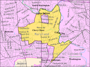 Chevy Chase (CDP), Maryland - Boundaries of the Chevy Chase CDP as of 2003