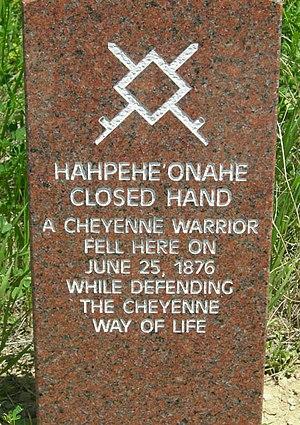 Little Bighorn Battlefield National Monument - Cheyenne combatant marker stone on the battlefield.