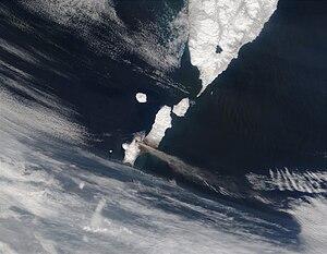 Paramushir - Chikurachki eruption, 2003 (MODIS image)
