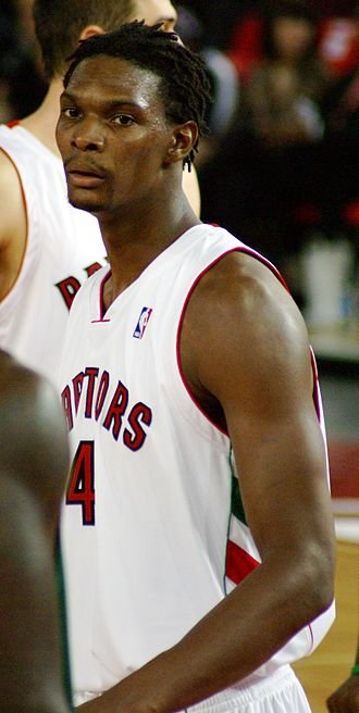 Toronto Raptors - Jorge Garbajosa (left) and Chris Bosh (right) during the 2007–08 season. Injuries to both players during the season derailed the possibility for the Raptors to defend their 2007 Atlantic Division title.