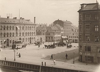 Christianshavns Torv - The square seen from the same angle in the late 19th century with Nebelong's prison building