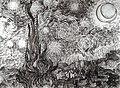 Cipreses en la noche estrellada - Vincent van Gogh - dibujo.jpg