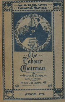 Book cover image of The Labour Chairman by Walter Citrine, 1920