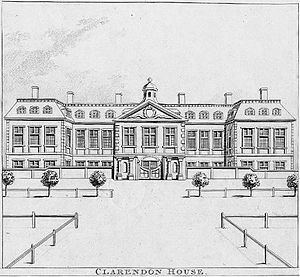 "Clarendon House - Clarendon House, viewed from St James's Street. 1798 engraving by Nathaniel Smith and John Thomas Smith of London, copied from an earlier print in collection of Thomas Allen Esq. Published in Smith's ""Antiquities of London"" 1798"