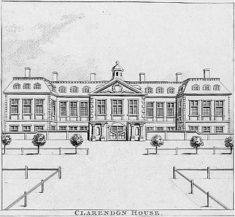 """Clarendon House - Clarendon House, viewed from St James's Street. 1798 engraving by Nathaniel Smith and John Thomas Smith of London, copied from an earlier print in collection of Thomas Allen Esq. Published in Smith's """"Antiquities of London"""" 1798"""