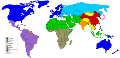 Post-1990 Huntington's major civilizations (Western is colored dark blue). Clash of Civilizations mapn2.png