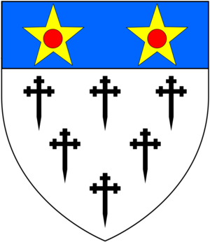 Charles Hepburn-Stuart-Forbes-Trefusis, 20th Baron Clinton - Arms of de Clinton, Barons Clinton: Argent, six crosses crosslet fitchée sable three two and one on a chief azure two mullets or pierced gules
