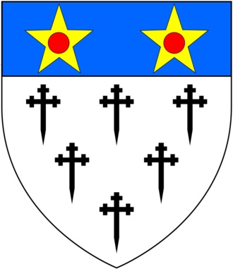 Baron Clinton - Arms of de Clinton, Barons Clinton: Argent, six crosses crosslet fitchée sable three two and one on a chief azure two mullets or pierced gules