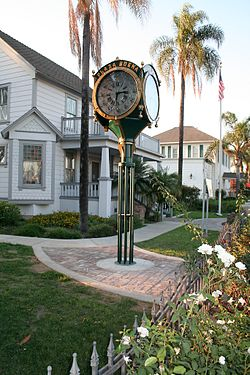 The Newly restored Dreger Clock as it stands after restoration in front of the historic Whitaker/Jaynes House