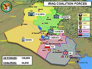 Multinational Division Central-South - Zones in Iraq as of 2004. Polish zone (South Central), in practice multinational under Polish command, marked in pink.