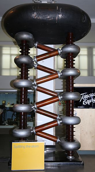 Cockcroft–Walton generator - This Cockcroft–Walton voltage multiplier was part of one of the early particle accelerators responsible for development of the atomic bomb. Built in 1937 by Philips of Eindhoven it is now in the National Science Museum in London, England.