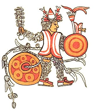 Human sacrifice in Aztec culture - Victim of sacrificial gladiatorial combat, from Codex Magliabechiano. Note that he is tied to a large stone and his macuahuitl (sword/club) is covered with what appears to be feathers instead of obsidian.