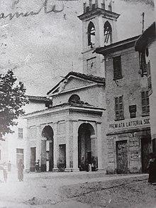Piazza San Giorgio nell'Ottocento, quando ancora la Chiesa di San Giorgio non era stata spostata più a nord