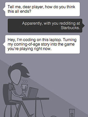 Coming Out Simulator 2014 - Case talking to the player at the beginning of the game.