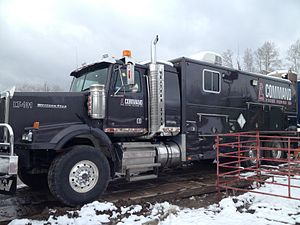Pipe recovery operations - Wireline truck performing pipe recovery on location in Alberta, Canada.