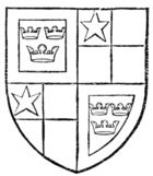Fig. 773.—Arms of Robert de Vere, Duke of Ireland and Earl of Oxford: Quarterly, 1 and 4 (of augmentation), azure, three crowns or, within a bordure argent; 2 and 3, quarterly gules and or, in the first quarter a mullet argent.