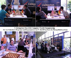Chess960 - 5th Livingston Chess960 Computer World Championship 2009 at Mainz. The four programs Deep Sjeng, Shredder, Rybka and Ikarus (with the programmers).