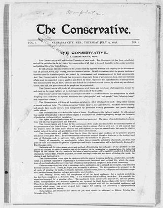 The Conservative (1898-1902) - Front page of the first issue of The Conservative, July 14, 1898