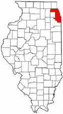 Map of Illinois showing Cook County