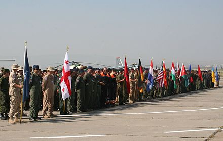 Partnership for Peace conducts multinational military exercises like Cooperative Archer, which took place in Tbilisi in July 2007 with 500 servicemen from four NATO members, eight PfP members, and Jordan, a Mediterranean Dialogue participant. Cooperative Archer 2007.jpg