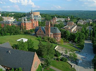 Cornell University - Overlooking Ho Plaza from atop McGraw Tower, with Sage Hall and Barnes Hall in the background
