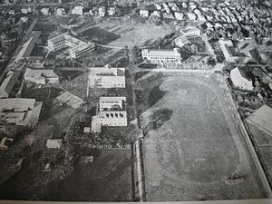 Central Philippine University - Aerial view of the part of Central's main campus in the north-eastern side in the early 1960s. During the World War II, Central's entire properties, was heavily destroyed.