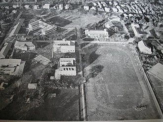 Central Philippine University - Aerial view of the part of Central's main campus in the north-eastern side in the early 1960s. During World War II, Central's entire properties, was heavily damaged.