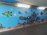 Crashed airplane, street art 2016 at Fonyód train station in Hungary.jpg