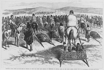 Crazy Horse and his band of Indians (Oglala Lakota) on their way from Camp Sheridan to surrender to General Crook at Red Cloud Agency (near Camp Robinson, Nebraska), Sunday, May 6, 1877 / Berghavy ; from sketches by Mr. Hottes.