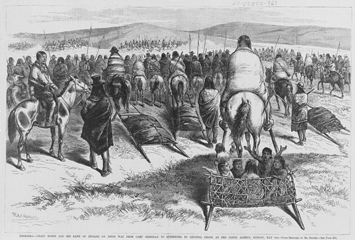 Crazy Horse and his band of Oglala on their way from Camp Sheridan to surrender to General Crook at Red Cloud Agency, Sunday, May 6, 1877 / Berghavy; from sketches by Mr. Hottes. Crazy horse c1877.jpg