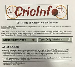 ESPNcricinfo - Cricinfo in 1995