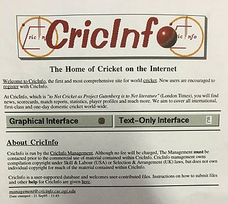 ESPNcricinfo - Cricinfo in 1995