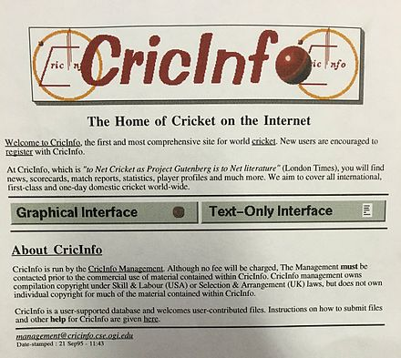 Cricinfo in 1995 Cricinfo in 1995.jpg