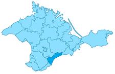 Position of Alushta on the map of Crimea, Ukraine.
