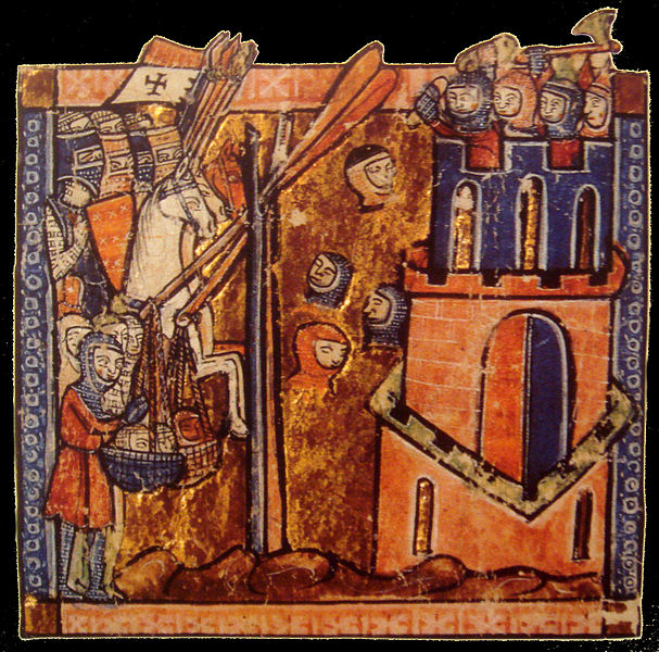 Siege of Nicaea. Crusaders Throwing Heads Of Muslims Over Ramparts