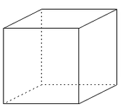 One possible interpretation of the Necker cube, often claimed to be the most common interpretation