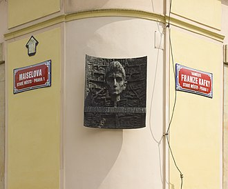 Franz Kafka - Plaque marking the birthplace of Franz Kafka in Prague, designed by Karel Hladík and Jan Kaplický, 1966
