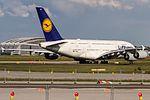 D-AIMK Lufthansa Airbus A380-841 lining down after rejected take off to Shanghai PuDong( PVG - ZSPD) @ Frankfurt - Rhein-Main International (FRA - EDDF) - 13.05.2017 (34609706596).jpg