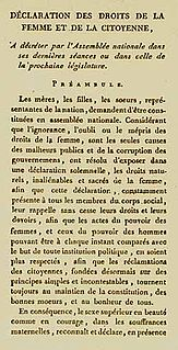 Declaration of the Rights of Woman and of the Female Citizen