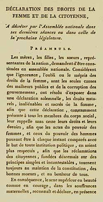 Feminism in France - First page of Declaration of the Rights of Woman and the Female Citizen