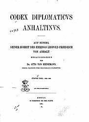 Codex diplomaticus anhaltinus. Band 5.