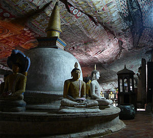 Seated Buddha statue at Dambulla cave temple