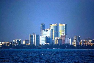 Dar es Salaam - The Tanzania Ports Authority (TPA, under construction ) and PSPF Pension Twin Towers both in the background are the tallest in East and Central Africa.