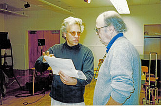 David M. Arden - David Arden (lft.) with Earle Brown in recording session (San Francisco)